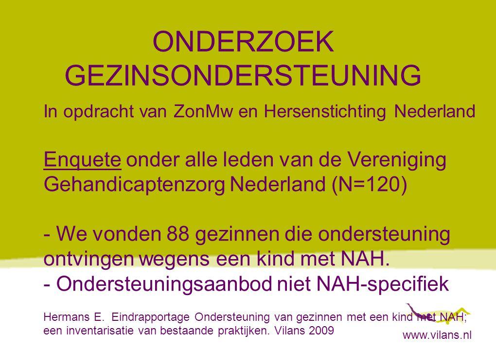 www.vilans.nl ONDERZOEK GEZINSONDERSTEUNING In opdracht van ZonMw en Hersenstichting Nederland Enquete onder alle leden van de Vereniging Gehandicapte