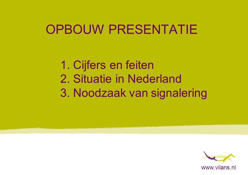 www.vilans.nl OPBOUW PRESENTATIE 1. Cijfers en feiten 2. Situatie in Nederland 3. Noodzaak van signalering