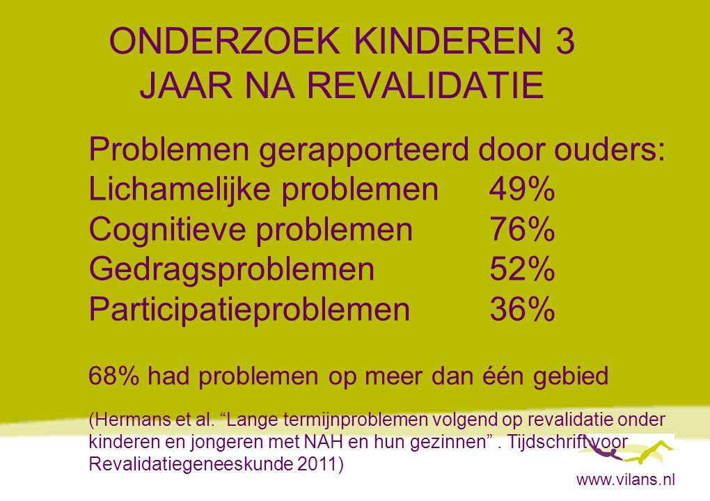 www.vilans.nl ONDERZOEK KINDEREN 3 JAAR NA REVALIDATIE Problemen gerapporteerd door ouders: Lichamelijke problemen49% Cognitieve problemen76% Gedragsp