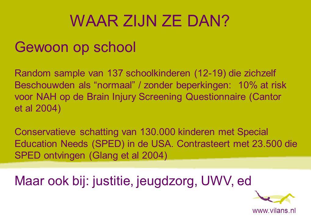 """www.vilans.nl WAAR ZIJN ZE DAN? Gewoon op school Random sample van 137 schoolkinderen (12-19) die zichzelf Beschouwden als """"normaal"""" / zonder beperkin"""