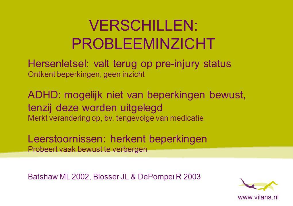 www.vilans.nl VERSCHILLEN: PROBLEEMINZICHT Hersenletsel: valt terug op pre-injury status Ontkent beperkingen; geen inzicht ADHD: mogelijk niet van bep