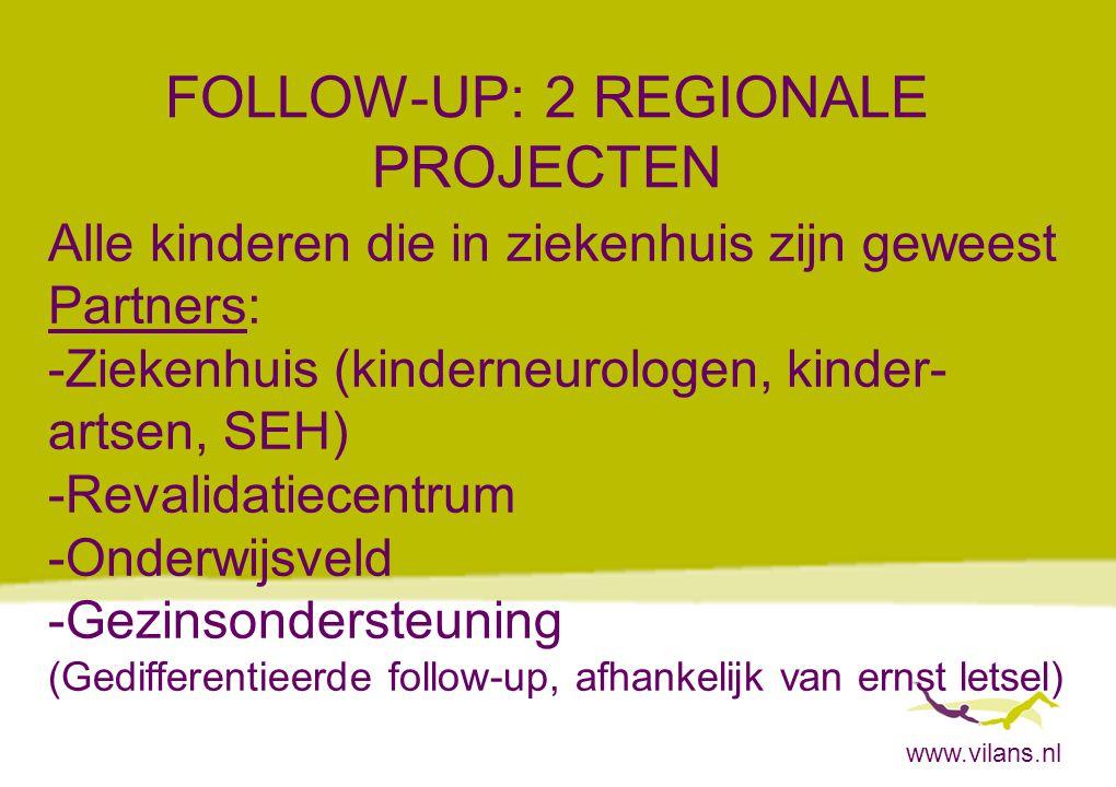 www.vilans.nl FOLLOW-UP: 2 REGIONALE PROJECTEN Alle kinderen die in ziekenhuis zijn geweest Partners: -Ziekenhuis (kinderneurologen, kinder- artsen, S
