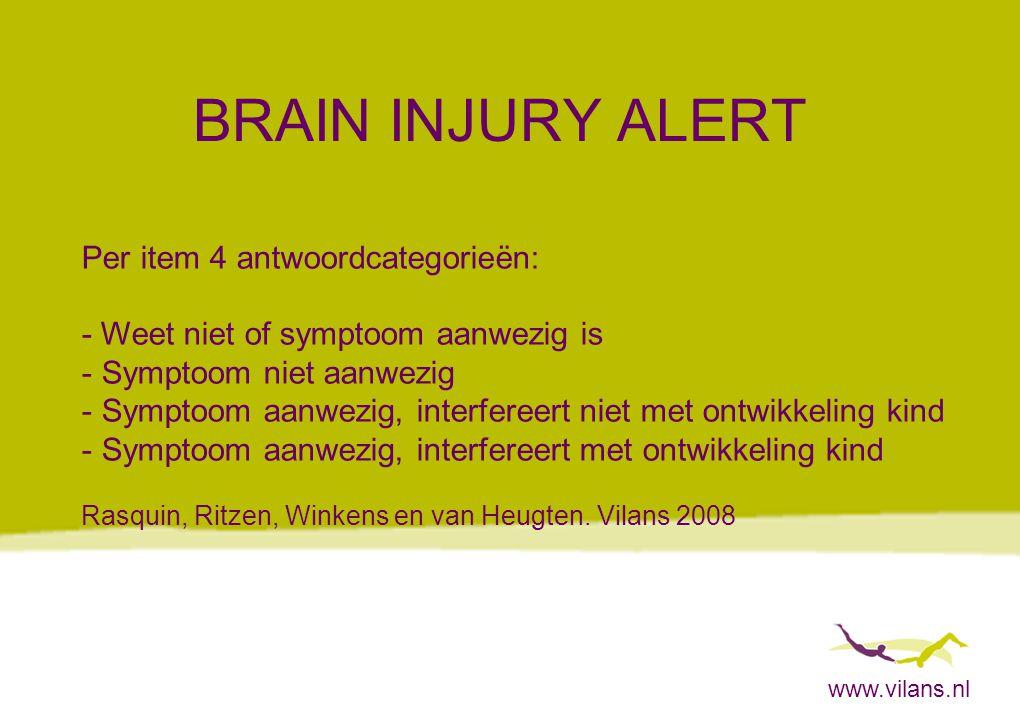 www.vilans.nl BRAIN INJURY ALERT Per item 4 antwoordcategorieën: - Weet niet of symptoom aanwezig is - Symptoom niet aanwezig - Symptoom aanwezig, int