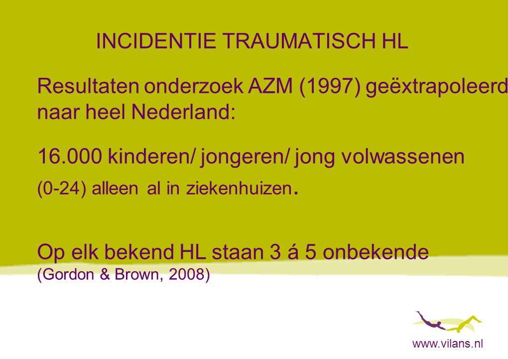 www.vilans.nl INCIDENTIE TRAUMATISCH HL Resultaten onderzoek AZM (1997) geëxtrapoleerd naar heel Nederland: 16.000 kinderen/ jongeren/ jong volwassene