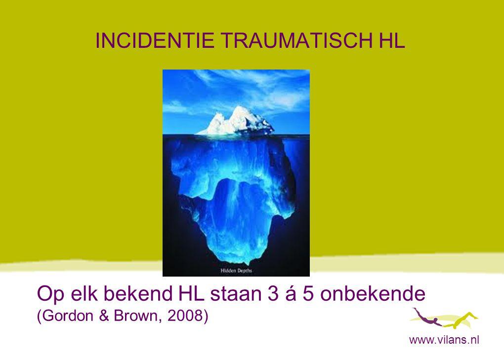 www.vilans.nl INCIDENTIE TRAUMATISCH HL Op elk bekend HL staan 3 á 5 onbekende (Gordon & Brown, 2008)