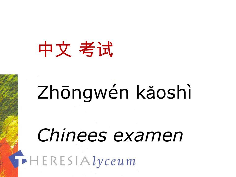 中文 考试 Zhōngwén k ǎ oshì Chinees examen