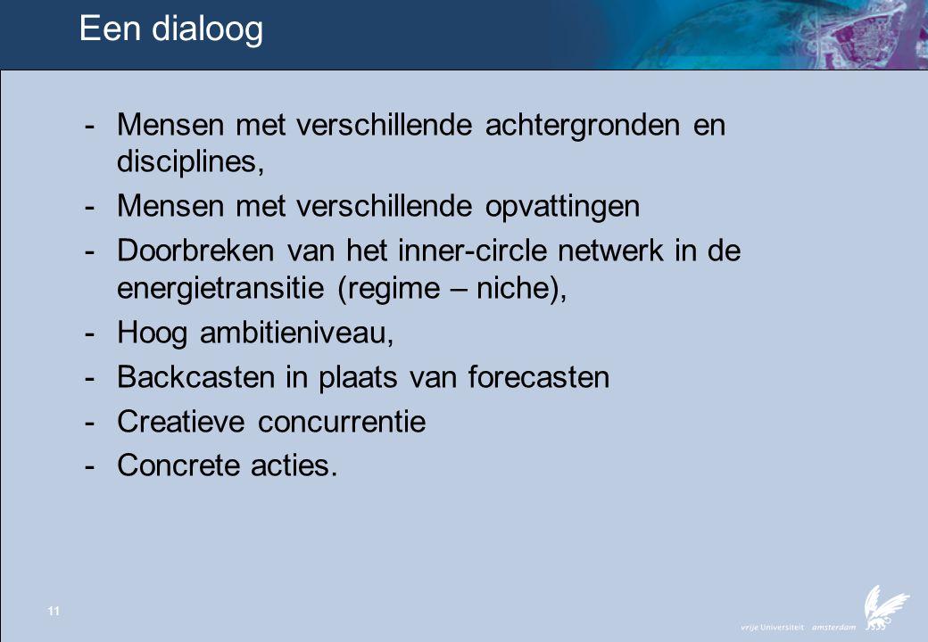 11 Een dialoog - Mensen met verschillende achtergronden en disciplines, - Mensen met verschillende opvattingen - Doorbreken van het inner-circle netwe