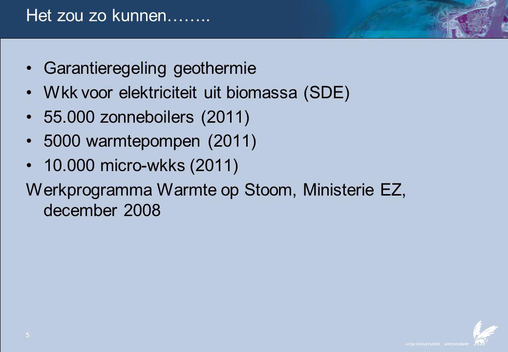 Het zou zo kunnen…….. •Garantieregeling geothermie •Wkk voor elektriciteit uit biomassa (SDE) •55.000 zonneboilers (2011) •5000 warmtepompen (2011) •1