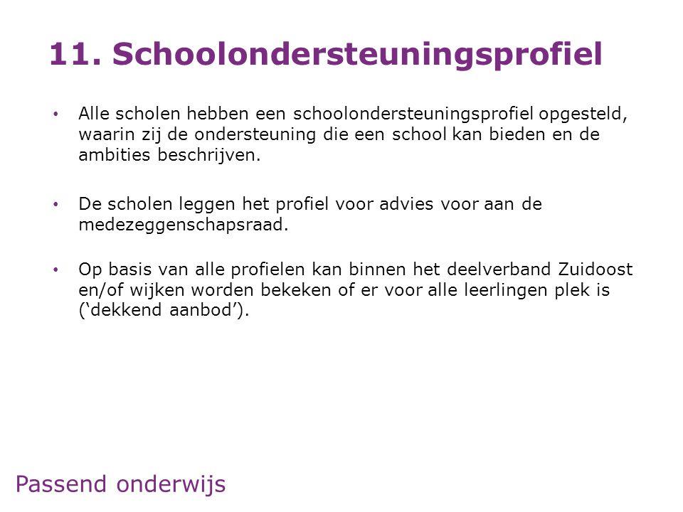 Passend onderwijs • Alle scholen hebben een schoolondersteuningsprofiel opgesteld, waarin zij de ondersteuning die een school kan bieden en de ambitie