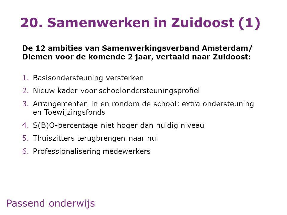 Passend onderwijs De 12 ambities van Samenwerkingsverband Amsterdam/ Diemen voor de komende 2 jaar, vertaald naar Zuidoost: 1.Basisondersteuning verst