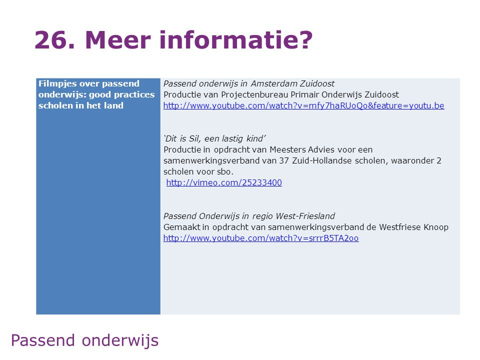 Passend onderwijs 26. Meer informatie? Filmpjes over passend onderwijs: good practices scholen in het land Passend onderwijs in Amsterdam Zuidoost Pro