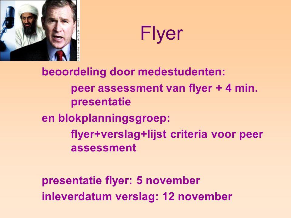 Flyer beoordeling door medestudenten: peer assessment van flyer + 4 min.