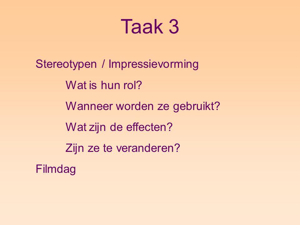 Taak 3 Stereotypen / Impressievorming Wat is hun rol.