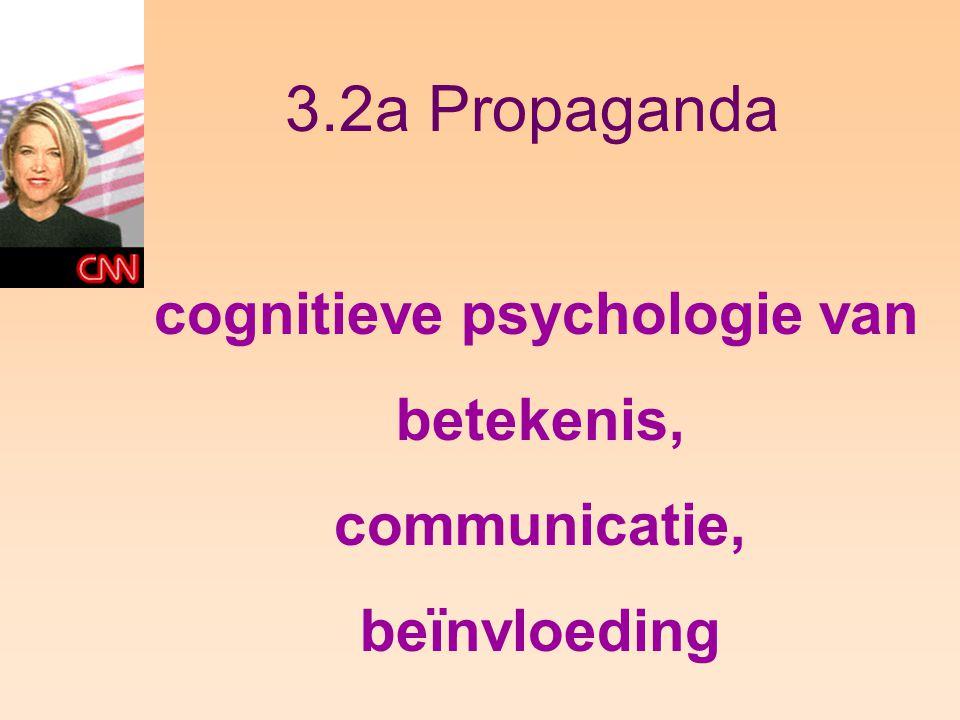 3.2a Propaganda cognitieve psychologie van betekenis, communicatie, beïnvloeding