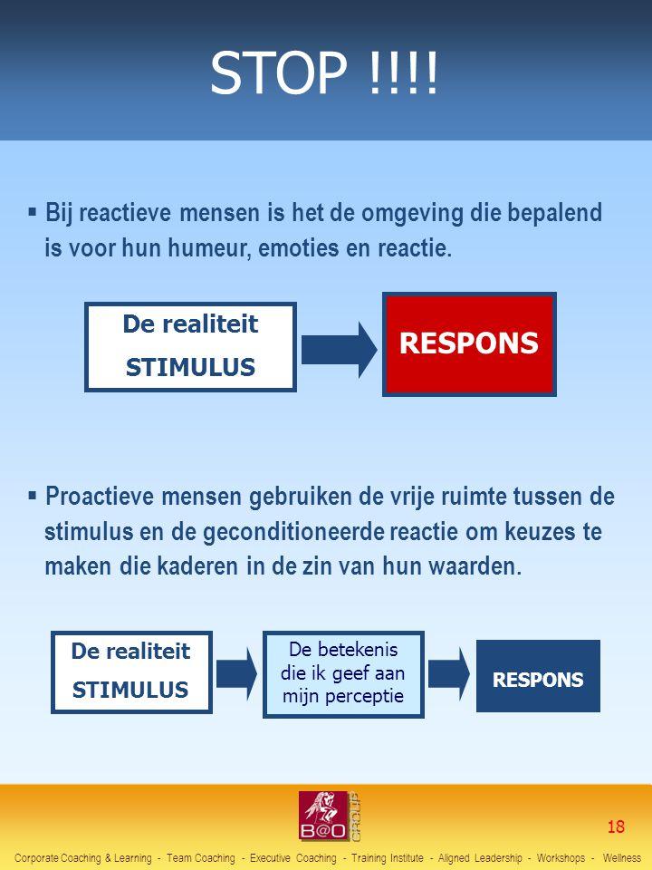 De realiteit STIMULUS RESPONS  Bij reactieve mensen is het de omgeving die bepalend is voor hun humeur, emoties en reactie. De realiteit STIMULUS RES