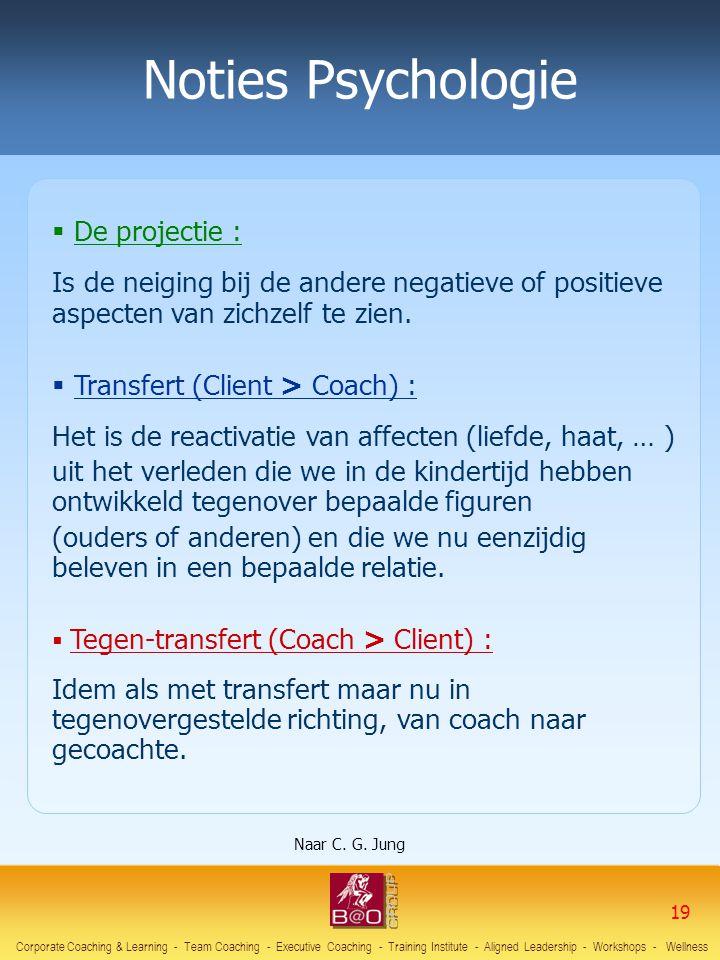 Noties Psychologie  De projectie : Is de neiging bij de andere negatieve of positieve aspecten van zichzelf te zien.  Transfert (Client > Coach) : H