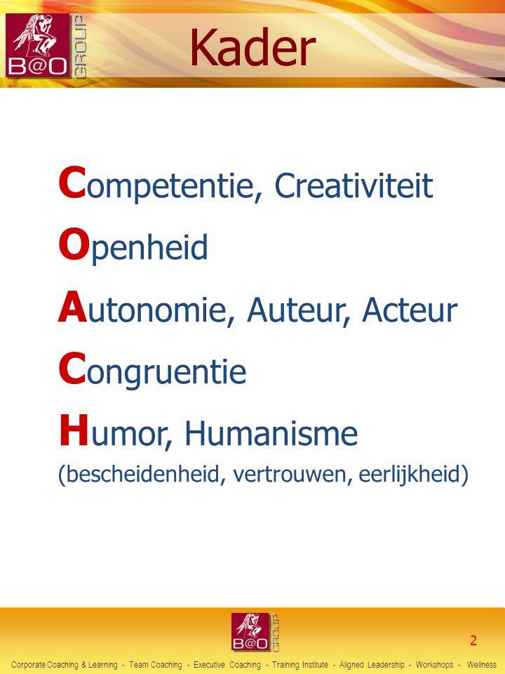 2 C ompetentie, Creativiteit O penheid A utonomie, Auteur, Acteur C ongruentie H umor, Humanisme (bescheidenheid, vertrouwen, eerlijkheid) Corporate C