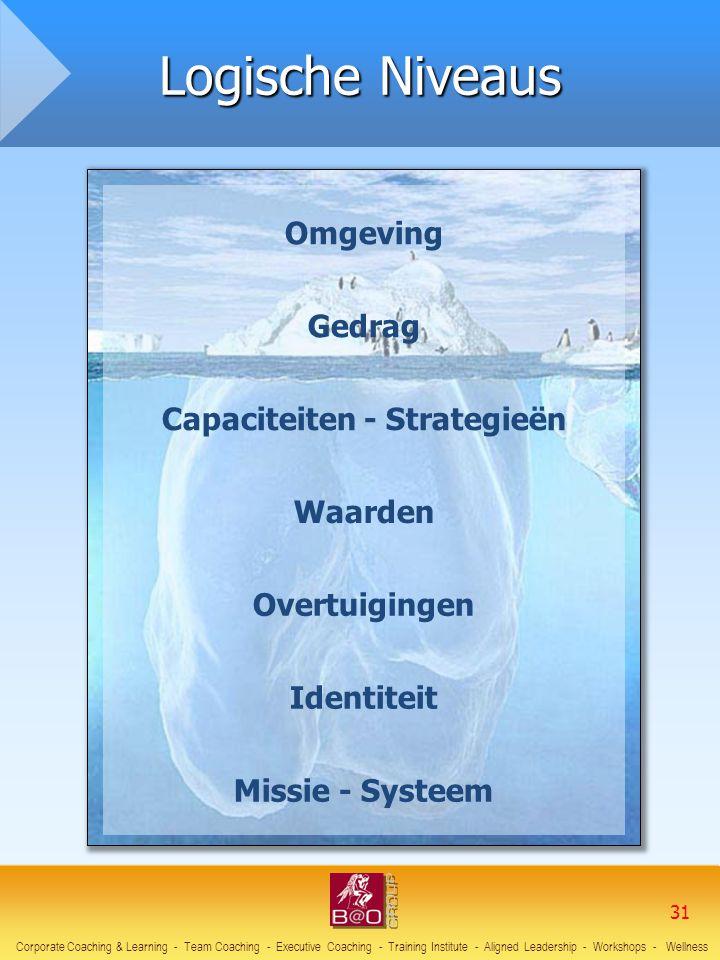 Omgeving Gedrag Capaciteiten - Strategieën Waarden Overtuigingen Identiteit Missie - Systeem Logische Niveaus Corporate Coaching & Learning - Team Coa