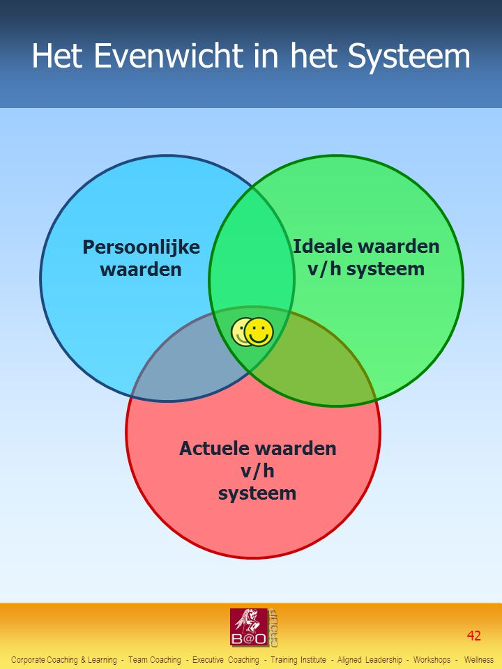Het Evenwicht in het Systeem Persoonlijke waarden Ideale waarden v/h systeem Actuele waarden v/h systeem Corporate Coaching & Learning - Team Coaching - Executive Coaching - Training Institute - Aligned Leadership - Workshops - Wellness 42