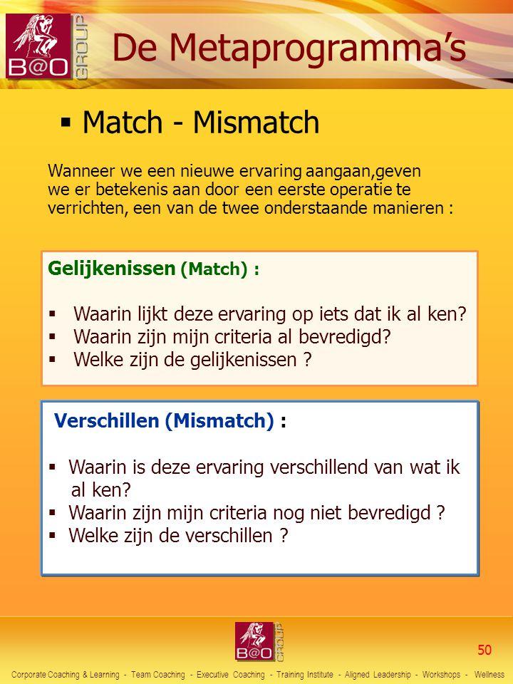 Gelijkenissen (Match) :  Waarin lijkt deze ervaring op iets dat ik al ken?  Waarin zijn mijn criteria al bevredigd?  Welke zijn de gelijkenissen ?