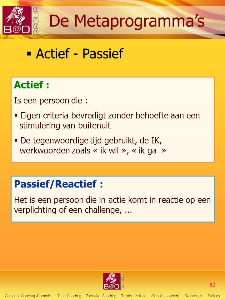 Passief/Reactief : Het is een persoon die in actie komt in reactie op een verplichting of een challenge,...  Actief - Passief Actief : Is een persoon