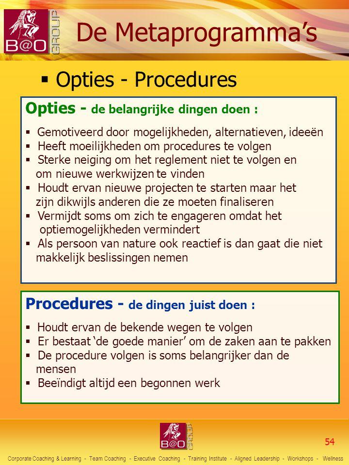  Opties - Procedures Opties - de belangrijke dingen doen :  Gemotiveerd door mogelijkheden, alternatieven, ideeën  Heeft moeilijkheden om procedure