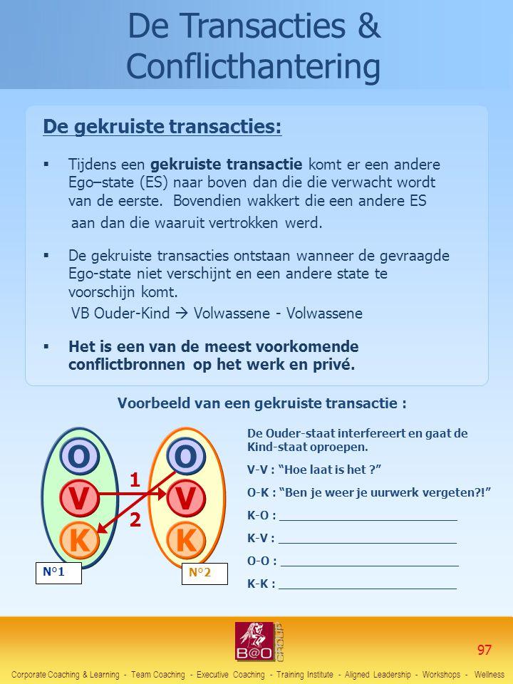 De Transacties & Conflicthantering De gekruiste transacties:  Tijdens een gekruiste transactie komt er een andere Ego–state (ES) naar boven dan die d
