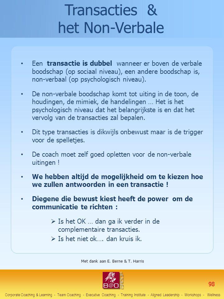 • Een transactie is dubbel wanneer er boven de verbale boodschap (op sociaal niveau), een andere boodschap is, non-verbaal (op psychologisch niveau).
