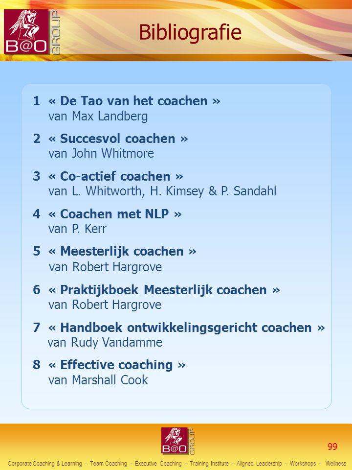 99 1 « De Tao van het coachen » van Max Landberg 2 « Succesvol coachen » van John Whitmore 3 « Co-actief coachen » van L. Whitworth, H. Kimsey & P. Sa