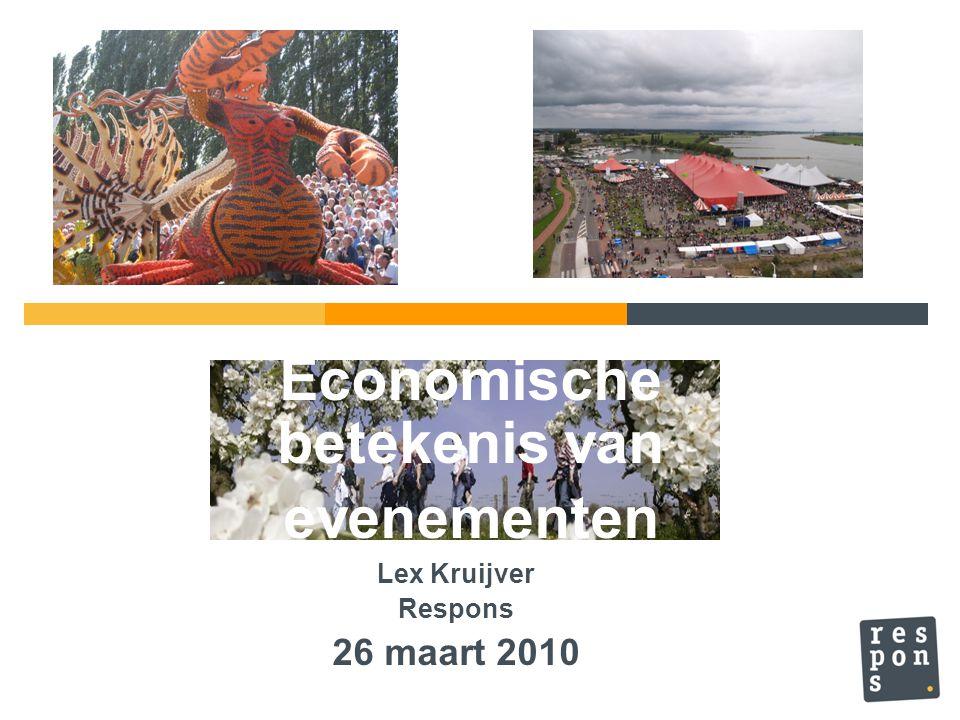 Economische betekenis 'mega'-events in Nederland EvenementenJaarEconomische impact EURO 20002000€ 145 miljoen Touretappe Valkenburg 2006€ 15 miljoen Vuelta (Drenthe)2009€ 12 miljoen Grand Depart Den Bosch 1996€ 8 miljoen Giro Groningen2002-/- € 400.000 Giro Amsterdam2010€ 25 miljoen.