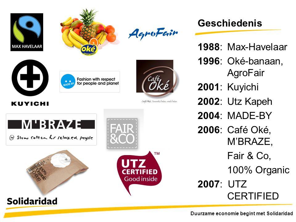 Geschiedenis 1988: Max-Havelaar 1996: Oké-banaan, AgroFair 2001: Kuyichi 2002: Utz Kapeh 2004: MADE-BY 2006: Café Oké, M'BRAZE, Fair & Co, 100% Organi