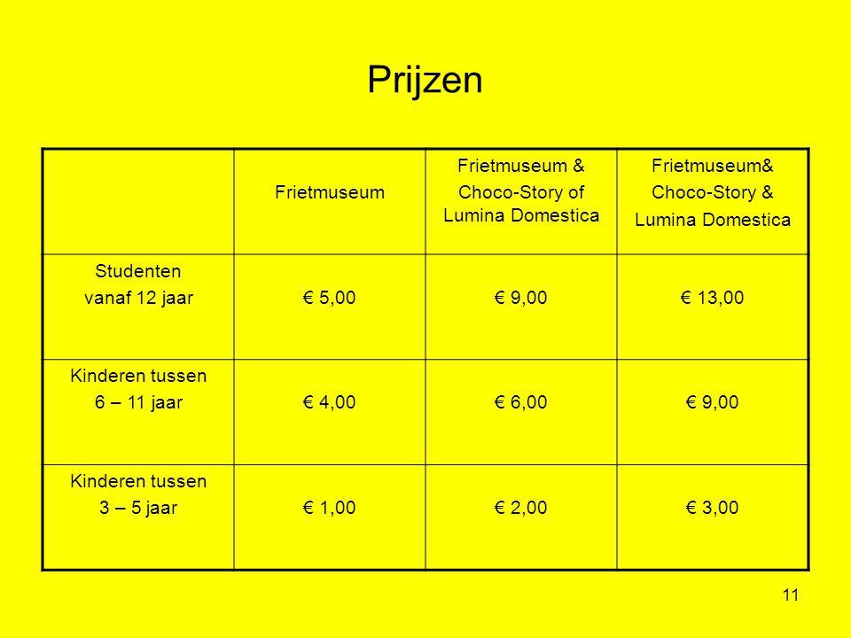 11 Prijzen Frietmuseum Frietmuseum & Choco-Story of Lumina Domestica Frietmuseum& Choco-Story & Lumina Domestica Studenten vanaf 12 jaar€ 5,00€ 9,00€