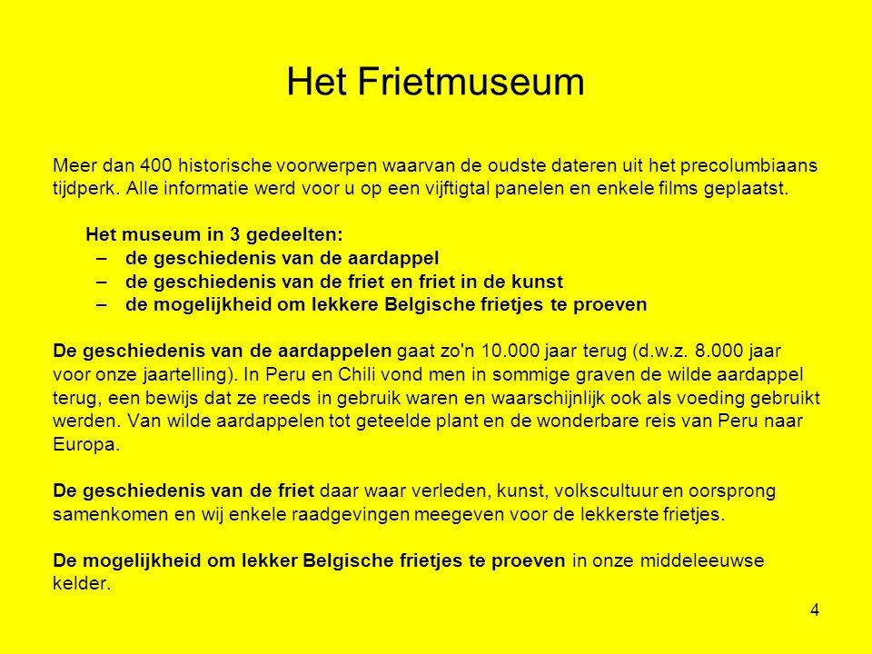 4 Het Frietmuseum Meer dan 400 historische voorwerpen waarvan de oudste dateren uit het precolumbiaans tijdperk. Alle informatie werd voor u op een vi