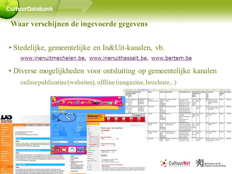 Waar verschijnen de ingevoerde gegevens • Stedelijke, gemeentelijke en In&Uit-kanalen, vb.