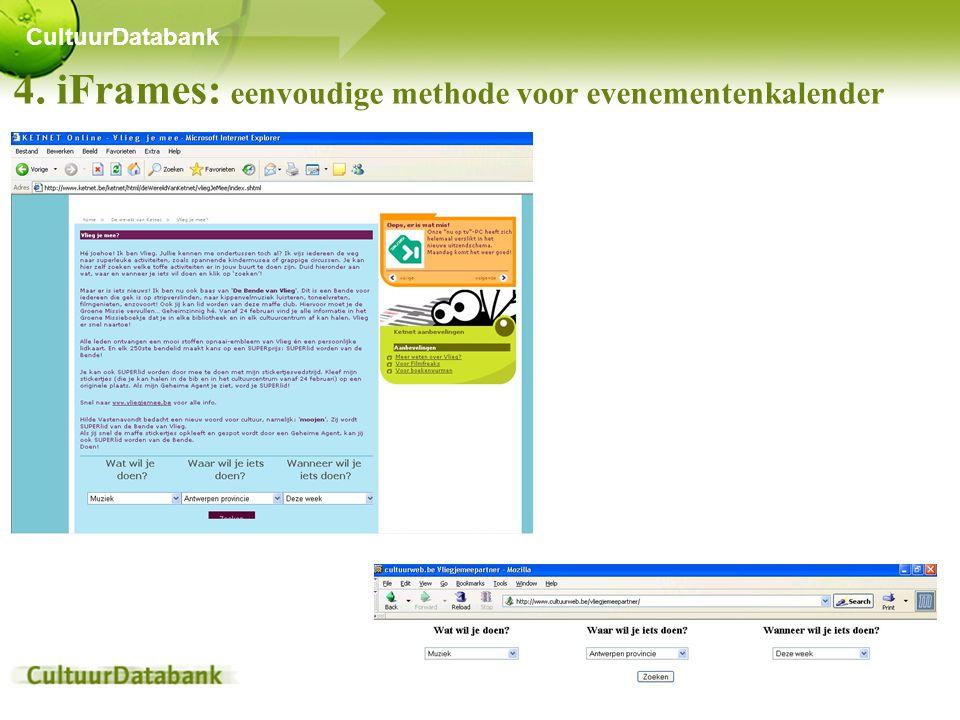 4. iFrames: eenvoudige methode voor evenementenkalender CultuurDatabank