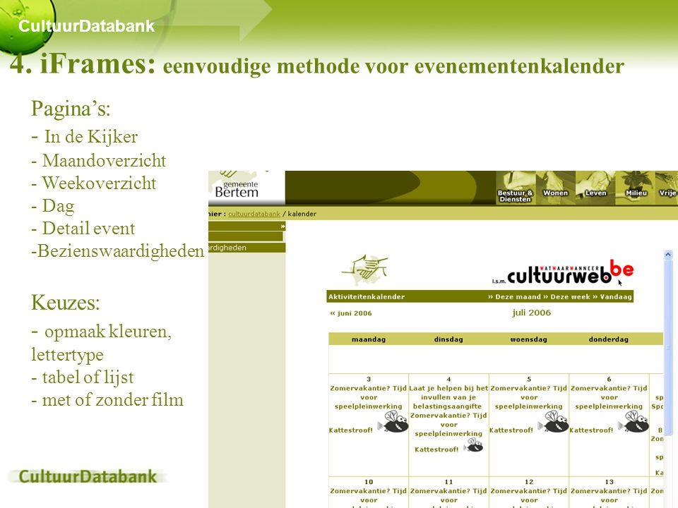 4. iFrames: eenvoudige methode voor evenementenkalender CultuurDatabank Pagina's: - In de Kijker - Maandoverzicht - Weekoverzicht - Dag - Detail event