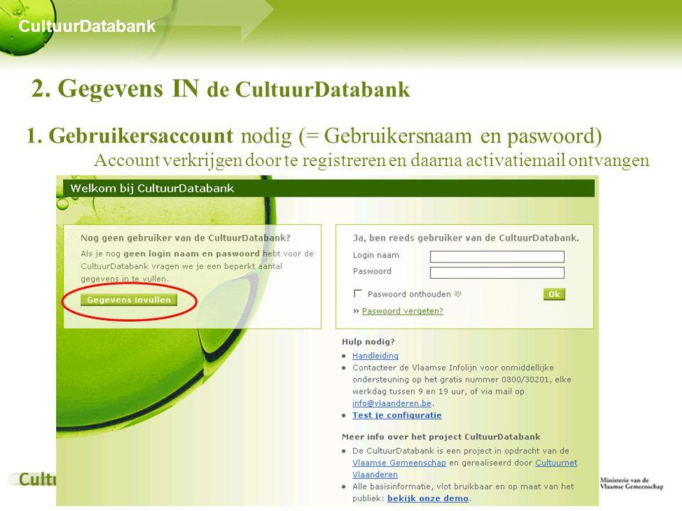 2. Gegevens IN de CultuurDatabank 1.