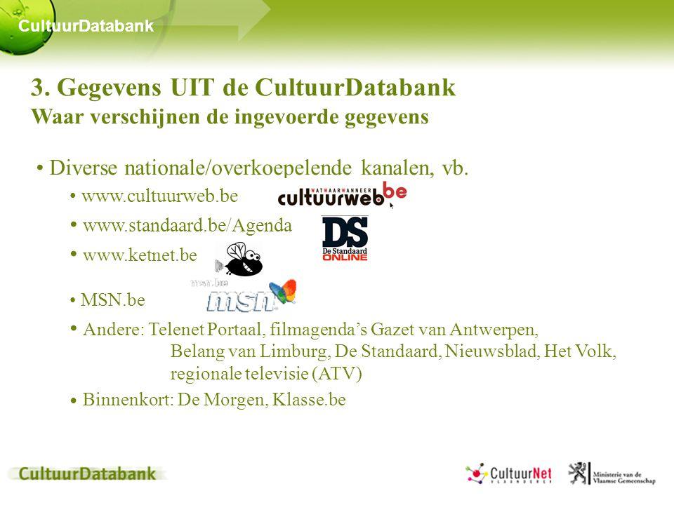 3. Gegevens UIT de CultuurDatabank Waar verschijnen de ingevoerde gegevens • Diverse nationale/overkoepelende kanalen, vb. • www.cultuurweb.be • www.s