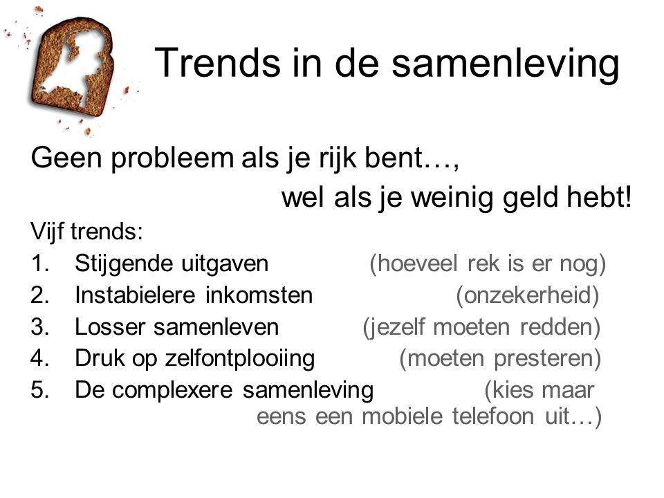 Trends in de samenleving Geen probleem als je rijk bent…, wel als je weinig geld hebt! Vijf trends: 1.Stijgende uitgaven (hoeveel rek is er nog) 2.Ins