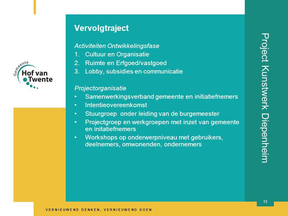 V E R N I E U W E N D D E N K E N, V E R N I E U W E N D D O E N 13 Project Kunstwerk Diepenheim Vervolgtraject Activiteiten Ontwikkelingsfase 1.Cultuur en Organisatie 2.Ruimte en Erfgoed/vastgoed 3.Lobby, subsidies en communicatie Projectorganisatie •Samenwerkingsverband gemeente en initiatiefnemers •Intentieovereenkomst •Stuurgroep onder leiding van de burgemeester •Projectgroep en werkgroepen met inzet van gemeente en initatiefnemers •Workshops op onderwerpniveau met gebruikers, deelnemers, omwonenden, ondernemers
