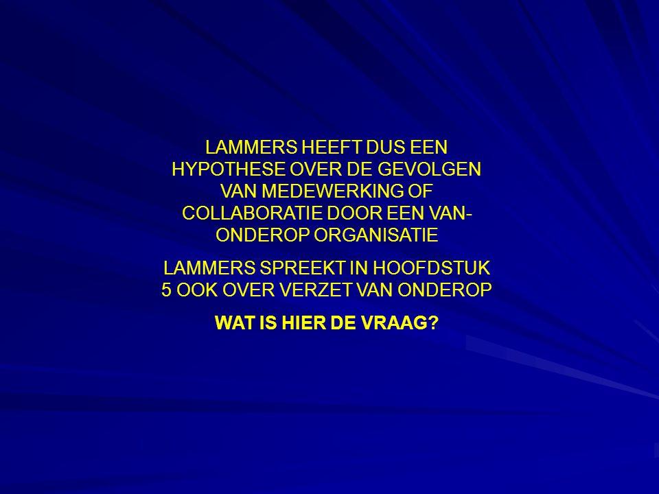LAMMERS HEEFT DUS EEN HYPOTHESE OVER DE GEVOLGEN VAN MEDEWERKING OF COLLABORATIE DOOR EEN VAN- ONDEROP ORGANISATIE LAMMERS SPREEKT IN HOOFDSTUK 5 OOK OVER VERZET VAN ONDEROP WAT IS HIER DE VRAAG