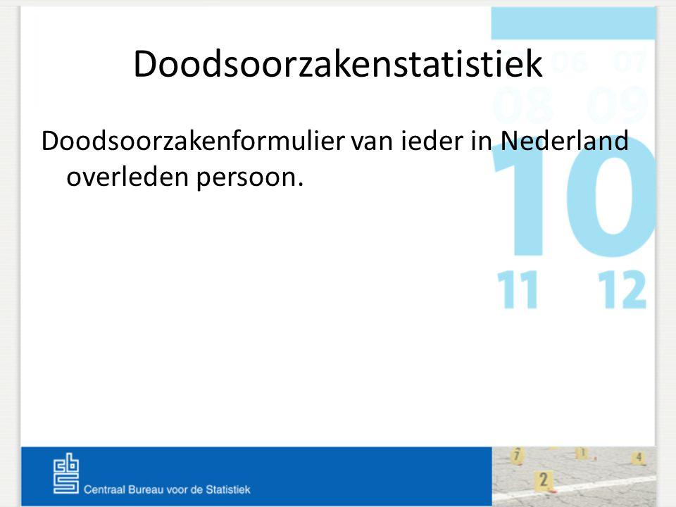 Doodsoorzakenstatistiek Doodsoorzakenformulier van ieder in Nederland overleden persoon.