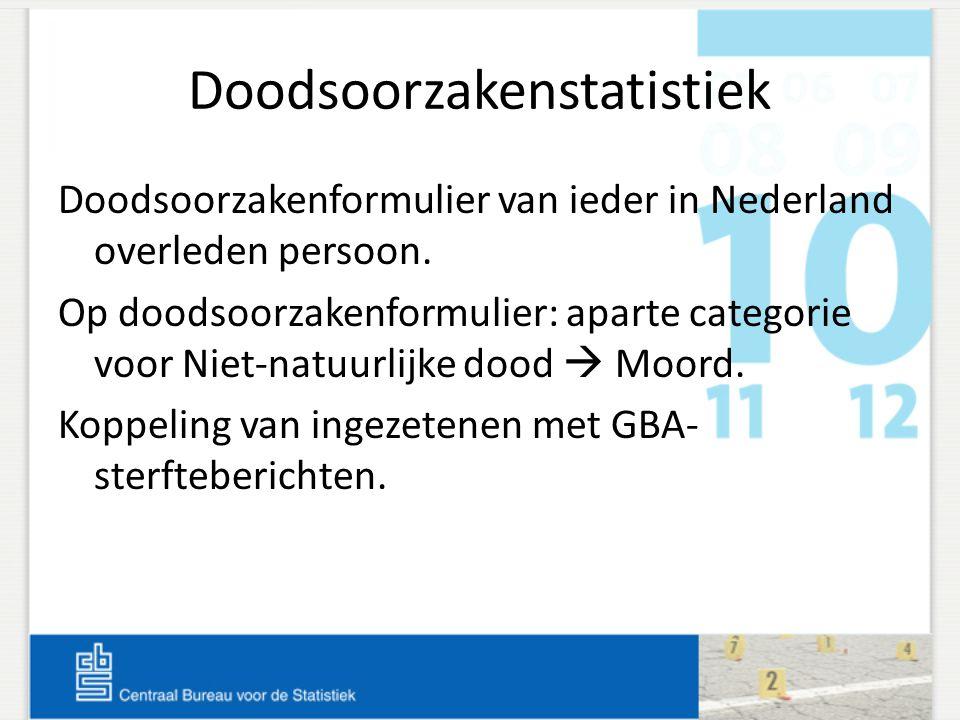 Doodsoorzakenstatistiek Doodsoorzakenformulier van ieder in Nederland overleden persoon. Op doodsoorzakenformulier: aparte categorie voor Niet-natuurl