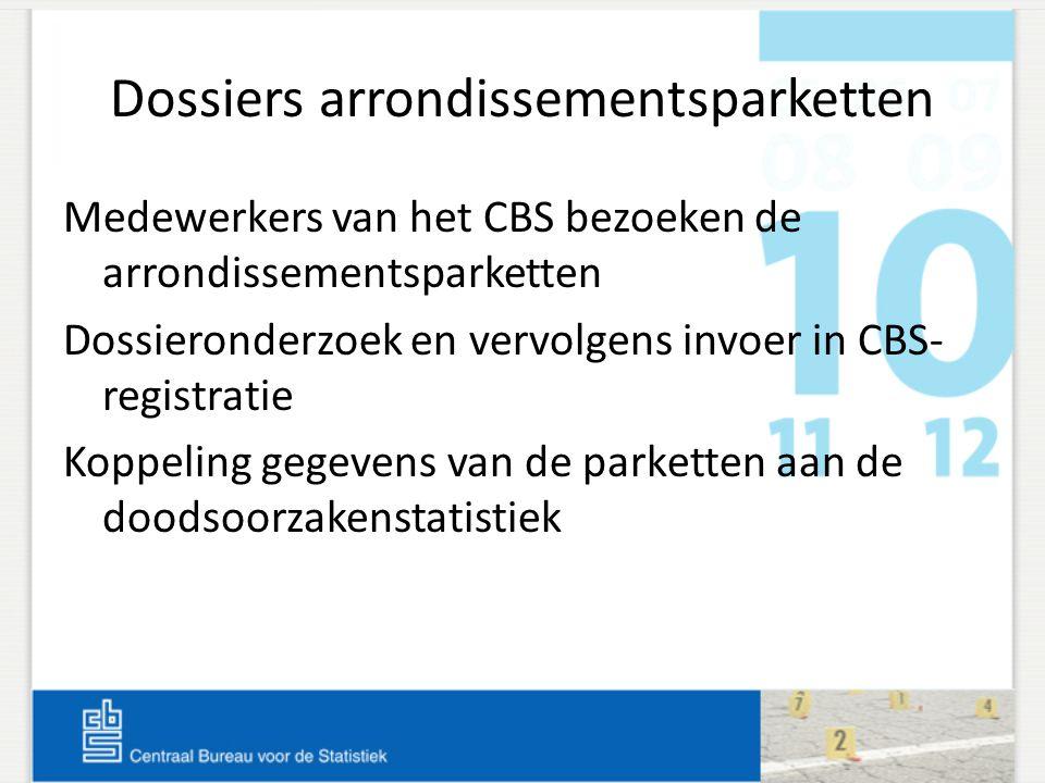 Dossiers arrondissementsparketten Medewerkers van het CBS bezoeken de arrondissementsparketten Dossieronderzoek en vervolgens invoer in CBS- registrat
