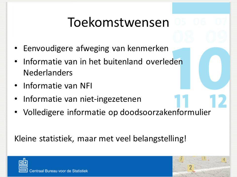 Toekomstwensen • Eenvoudigere afweging van kenmerken • Informatie van in het buitenland overleden Nederlanders • Informatie van NFI • Informatie van n