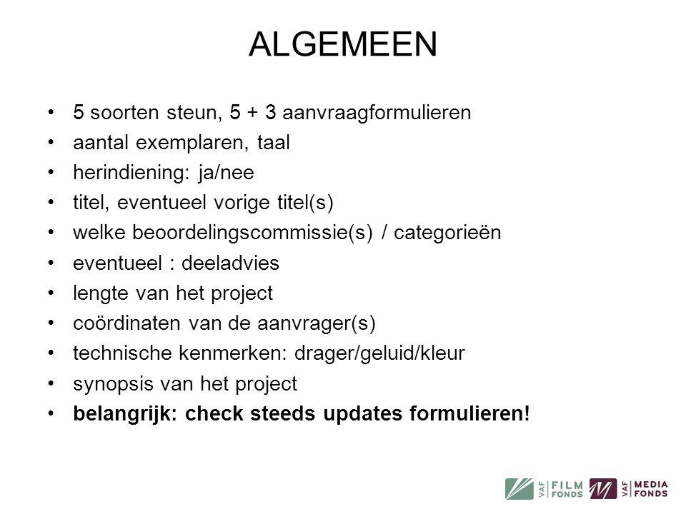 SCENARIOSTEUN •voor volledig uitschrijven van scenario / inhoudelijk en visueel opzet •alleen voor majoritair Vlaamse projecten •voor (middel)lange films + reeksen, niet voor korte films.