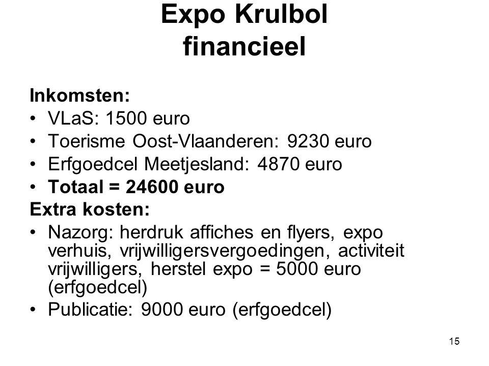 15 Expo Krulbol financieel Inkomsten: •VLaS: 1500 euro •Toerisme Oost-Vlaanderen: 9230 euro •Erfgoedcel Meetjesland: 4870 euro •Totaal = 24600 euro Ex