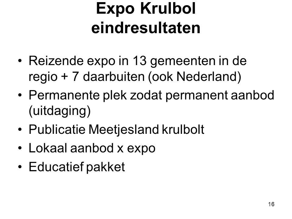 16 Expo Krulbol eindresultaten •Reizende expo in 13 gemeenten in de regio + 7 daarbuiten (ook Nederland) •Permanente plek zodat permanent aanbod (uitd