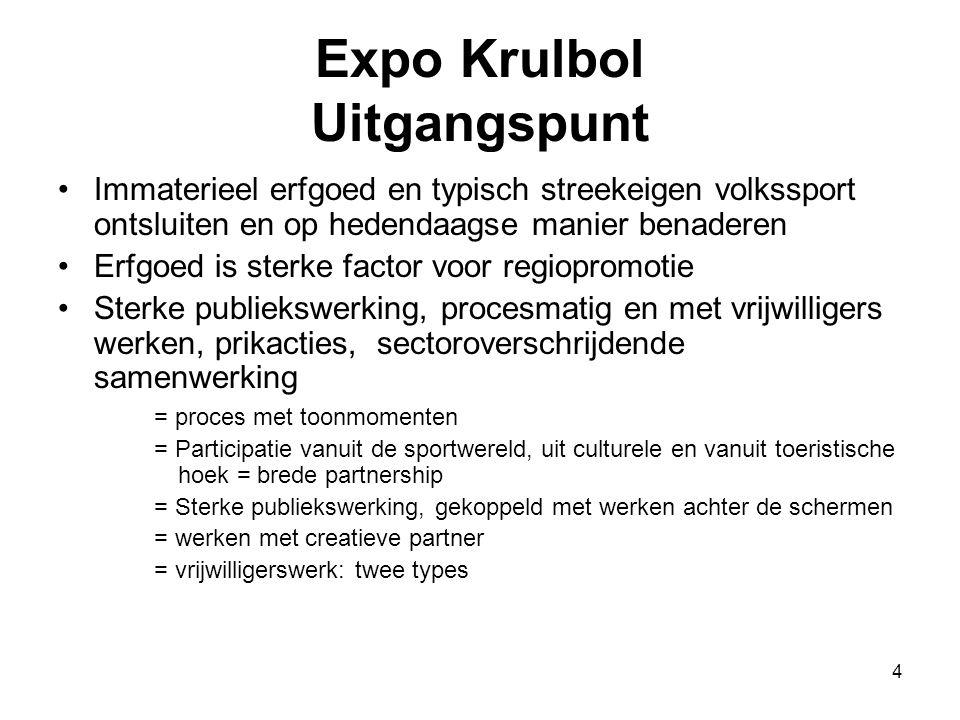 4 Expo Krulbol Uitgangspunt •Immaterieel erfgoed en typisch streekeigen volkssport ontsluiten en op hedendaagse manier benaderen •Erfgoed is sterke fa