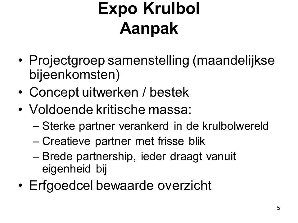 5 Expo Krulbol Aanpak •Projectgroep samenstelling (maandelijkse bijeenkomsten) •Concept uitwerken / bestek •Voldoende kritische massa: –Sterke partner